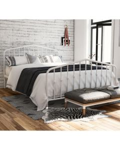 Bushwick Double Bed in White Metal by Dorel at Price Crash Furniture. Also in Black or Grey. Also in King size