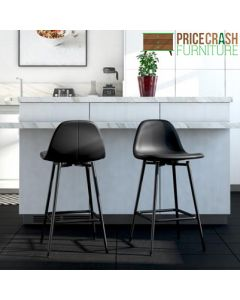 Calvin Upholstered Counter Stool in black faux leather at Price Crash Furniture