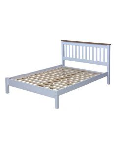 "Capri 4'6"" Slatted Lowend Bedstead, Painted White & Wax"