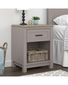 Carver grey and oak bedside table at Price Crash Furniture