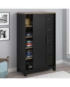 Carver black and oak gentleman's cupboard chest of drawers at Price Crash Furniture