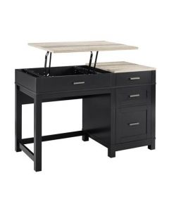 Carver sitting and standing desk in black and oak at Price Crash Furniture