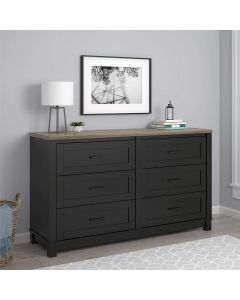Carver black and weathered oak 6 drawer chest of drawers at Price Crash Furniture