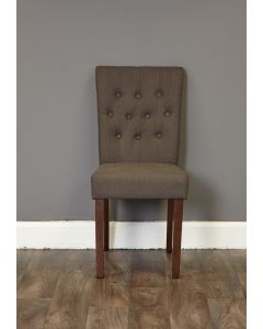 Baumhaus Walnut Flare Back Upholstered Dining Chair - Slate (Pack of Two)