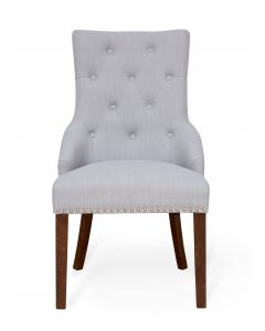 Baumhaus Walnut Accent Narrow Back Upholstered Dining Chair - Grey (Pack Of Two)