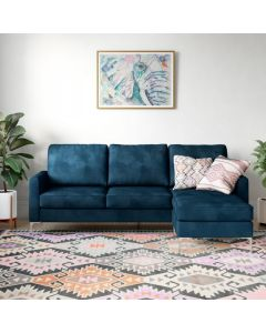 Chapman L Shaped Corner Sofa with Chrome Legs in Blue Velvet by Dorel