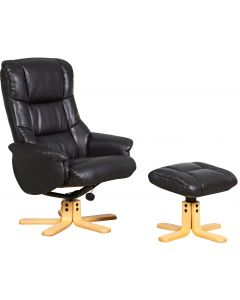 Teknik Chicago Luxury Recliner Black With Natural Base
