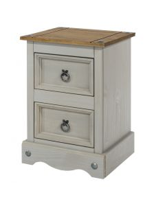 Core Products Corona Grey Washed 2 Drawer Petite Bedside Cabinet