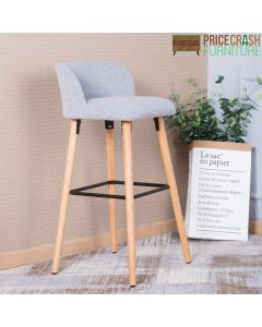 Alphason Claremont Grey Fabric Barstool with Wooden Legs