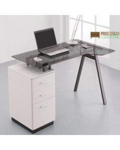 Alphason Cleveland 4 White & Smoked Glass Desk with Pedestal Drawers at Price Crash Furniture