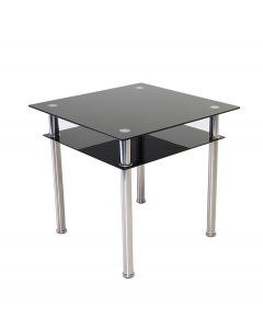 Como Square Glass Dining Table Black