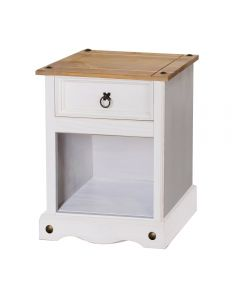 Core Products Corona White Washed Wax Effect Pine 1 Drawer Bedside Cabinet