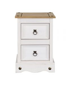 Core Products Corona White Washed Wax Effect Pine 2 Drawer Petite Bedside Cabinet