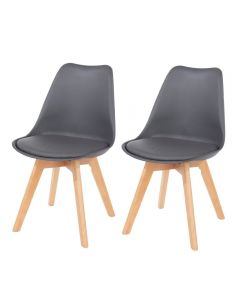 Core Products Aspen Dark Grey Upholstered Plastic Chair, Wood Llegs