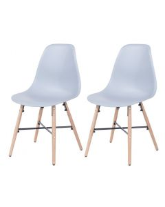Core Products Grey Plastic Chair, Wood Legs, Metal Cross Rails (Order In Pairs)