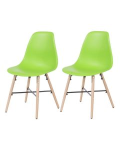 Core Products Green Plastic Chair, Wood Legs, Metal Cross Rails (Order In Pairs)