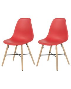 Core Products Red Plastic Chair, Wood Legs, Metal Cross Rails (Order In Pairs)