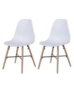 Core Products White Plastic Chair, Wood Legs, Metal Cross Rails (Order In Pairs)