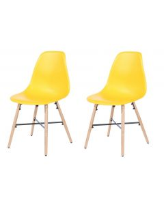 Core Products Yellow Plastic Chair, Wood Legs, Metal Cross Rails