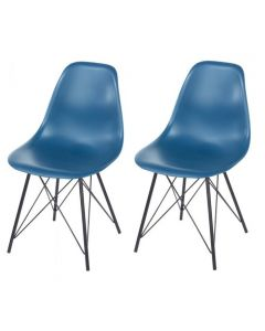 Core Products Aspen Navy Blue Plastic Occasional Chair With Black Metal Legs