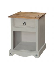 Core Products Corona Grey Washed 1 Drawer Bedside Cabinet