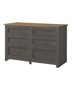 Core Products Corona Carbon Grey 3 + 3 Drawer Wide Chest