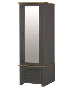 Core Products Corona Carbon Grey Single Wardrobe With Mirrored Door