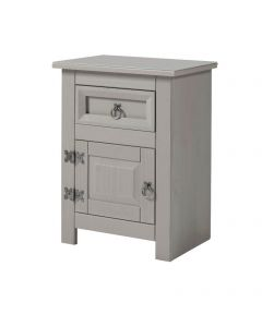 Core Products Corona Compact Grey 1 Door 1 Drawer Bedside Cabinet With Glass Top