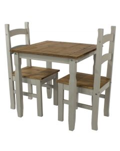 Core Products Corona Grey Washed Square Dining Table & 2 Chairs Set