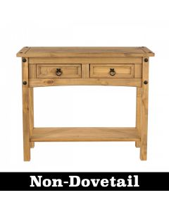 Core Corona Pine 2 Drawer Hall Table With Shelf No Dovetails