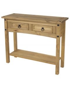 Core Corona Pine 2 Drawer Hall Table With Shelf