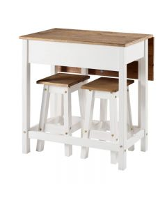 Core Products Corona White Breakfast Drop Leaf Table & 2 Stools Set