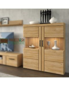 Cortina Low Wide 2 Door Display Cabinet In Grandson Oak at Price Crash Furniture