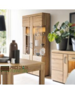 Cortina Tall Wide 2 Door Glazed Display Cabinet In Grandson Oak at Price Crash Furniture