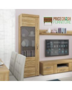 Cortina Tall Glazed Display Cabinet (LH) In Grandson Oak at Price Crash Furniture