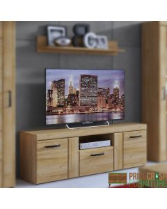 Cortina 2 Door 1 Drawer Tall TV Cabinet In Grandson Oak at Price Crash Furniture