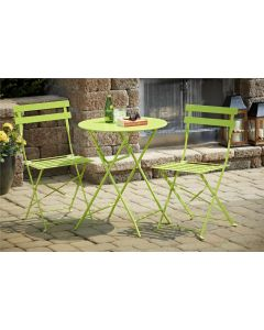 3 Piece Folding Bistro Set, Patio table + 2 Chairs in Green by Cosco Outdoor