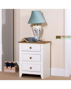 Capri 3 Drawer Bedside Cabinet in White & Pine at Price Crash Furniture. Matching items available