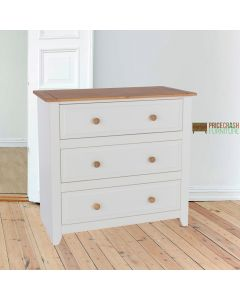 Capri 3 Drawer Chest in White & Pine at Price Crash Furniture. Matching items available