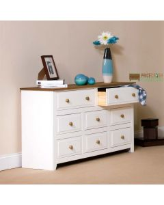 Capri 6+2 Drawer Large Chest of Drawers in White & Pine at Price Crash Furniture. Matching items available