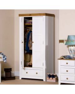 Capri 2 Door Wardrobe in White & Pine at Price Crash Furniture. Matching items available