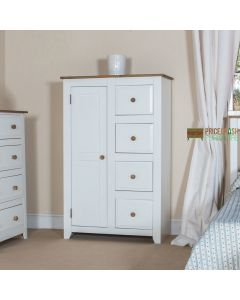 Capri 1 Door, 4 Drawer Tallboy Wardrobe in White & Pine at Price Crash Furniture. Matching items available