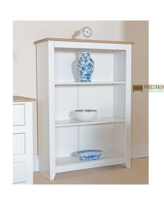 Capri Low Bookcase in White & Pine at Price Crash Furniture. Matching items available