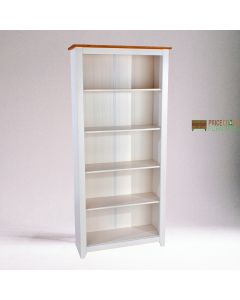 Capri Tall Bookcase in White & Pine at Price Crash Furniture. Matching items available