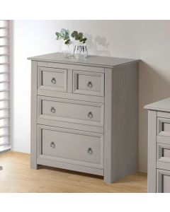 Core Products Corona Compact Grey 2+2 Drawer Chest With Glass Top
