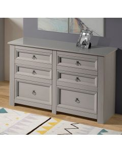Core Products Corona Compact Grey 3+3 Drawer Wide Chest With Glass Top