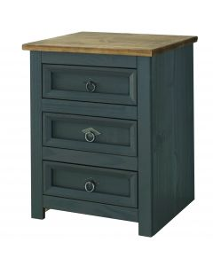 Core Products Corona Grey Carbon 3 Drawer Large Bedside Cabinet