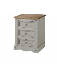 Core Products Corona Grey 3 Drawer Bedside Cabinet