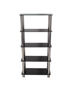 Crystal 5 Tier Black Glass Shelving Unit