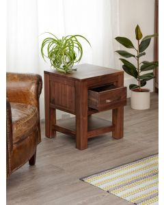 Baumhaus Mayan Walnut One Drawer Lamp Table - CWC10A